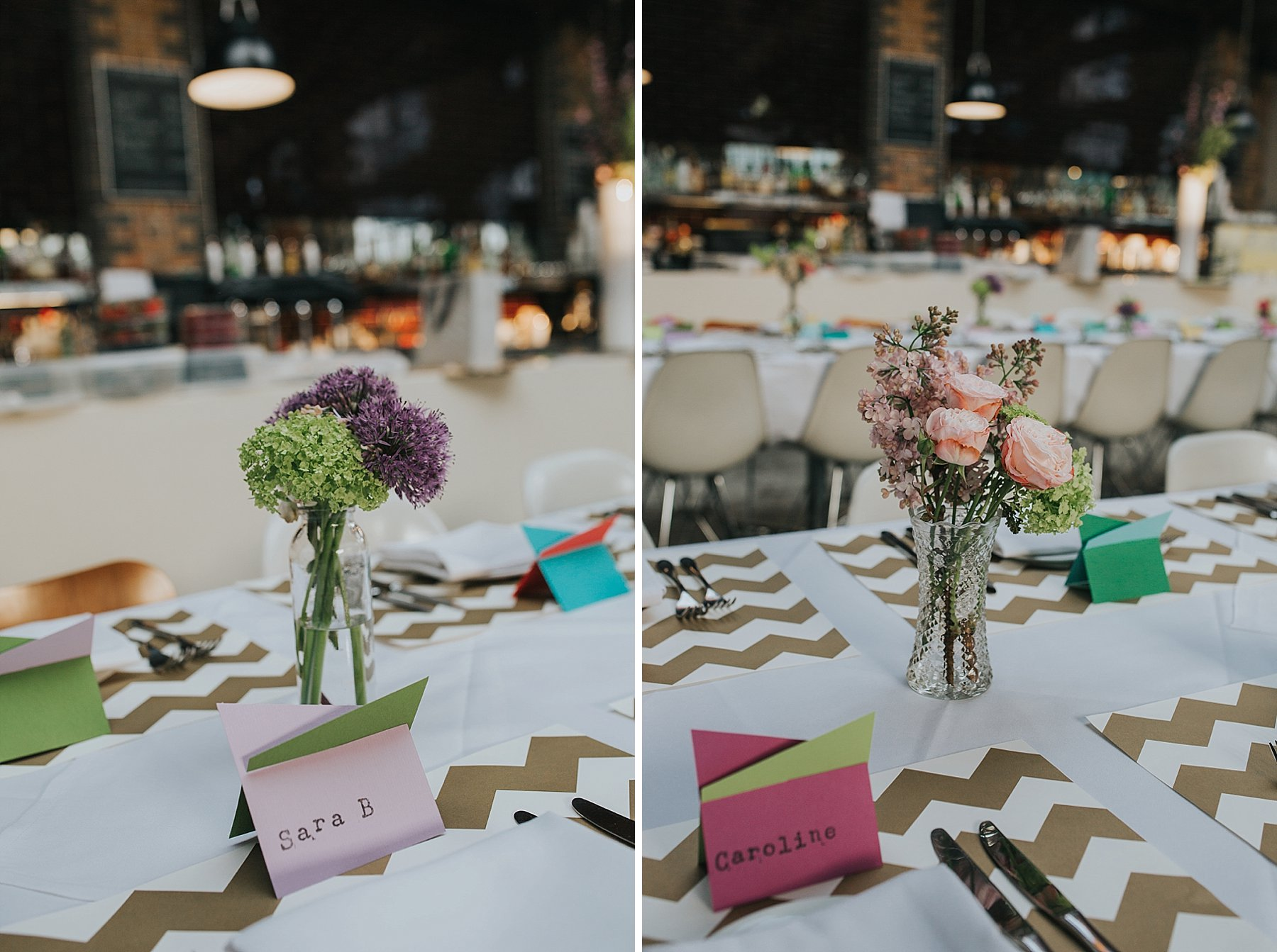 15-St Chads Place wedding gold chevron flower posies table styling.jpg