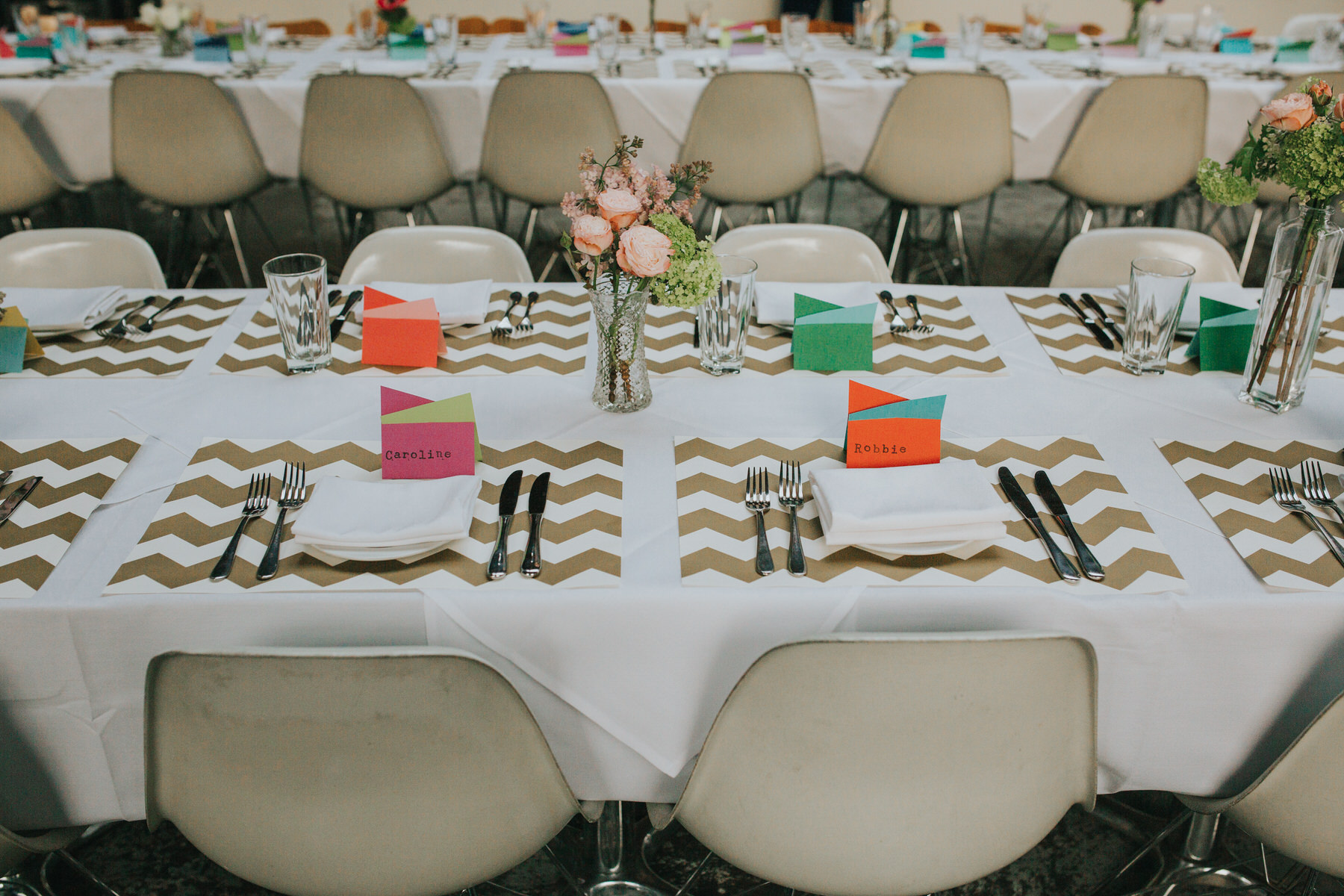22-St Chads Place wedding gold chevron table mulit colour geometric place names.jpg