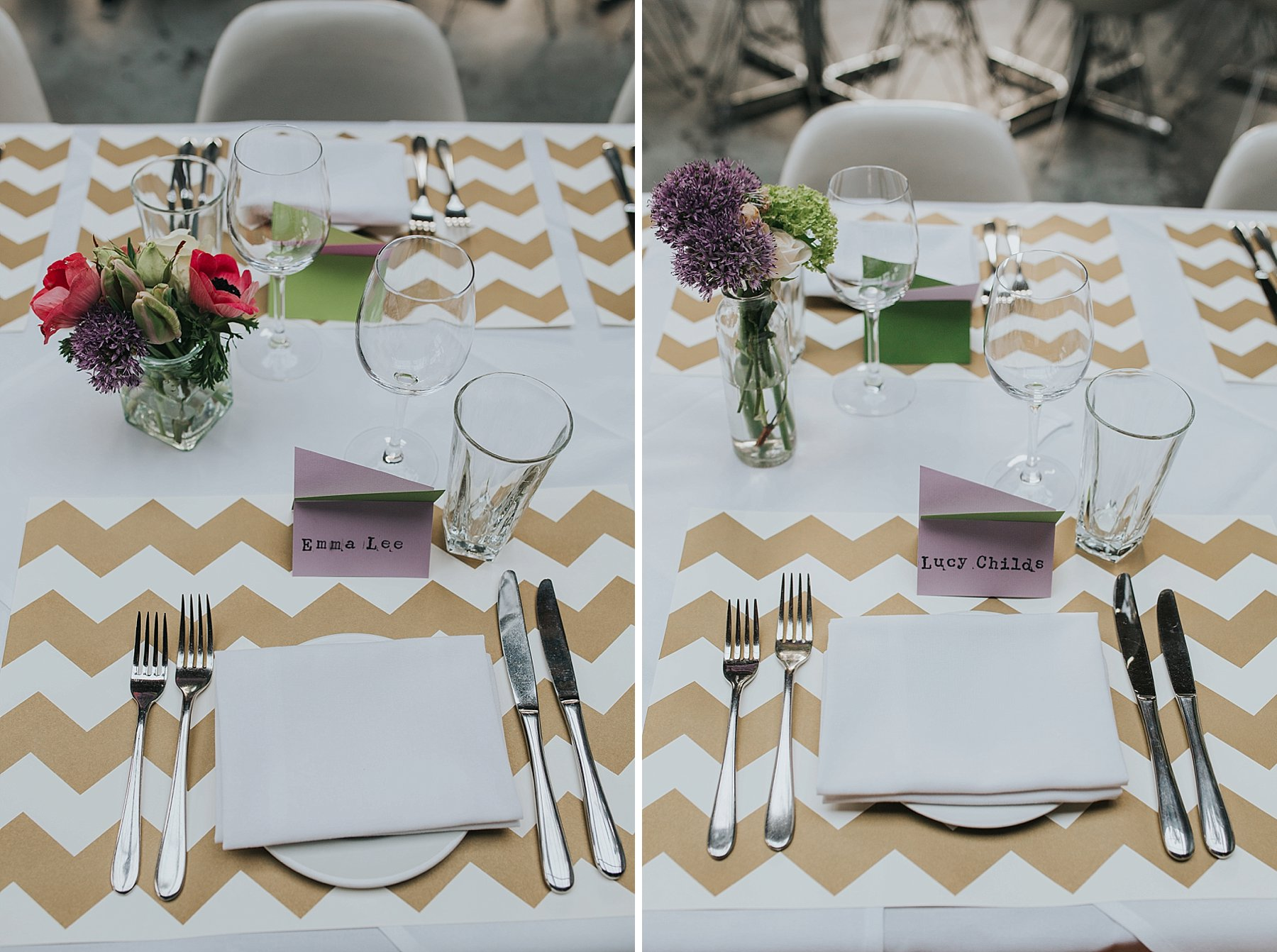 25-St Chads Place wedding gold chevron table mulit colour geometric place names.jpg