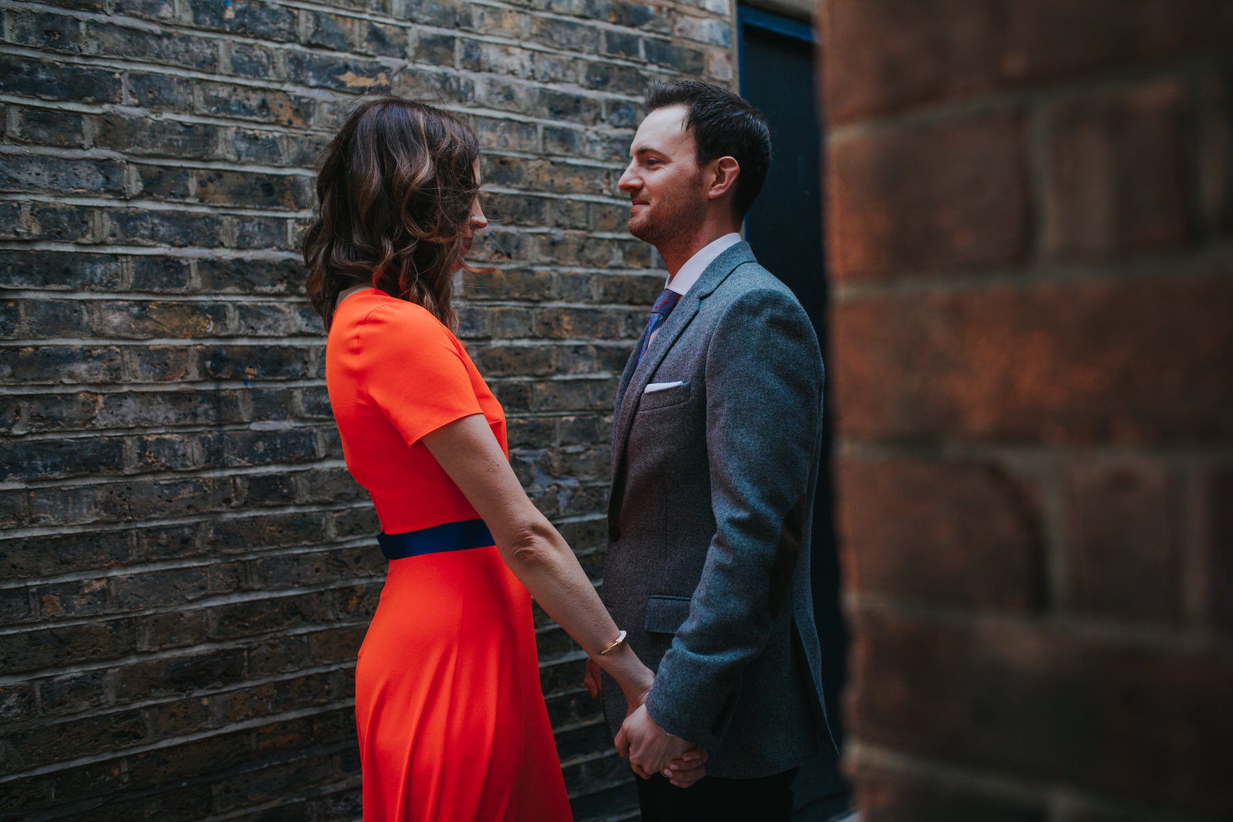 129-St Chads Place wedding creative couple neon red dress.jpg