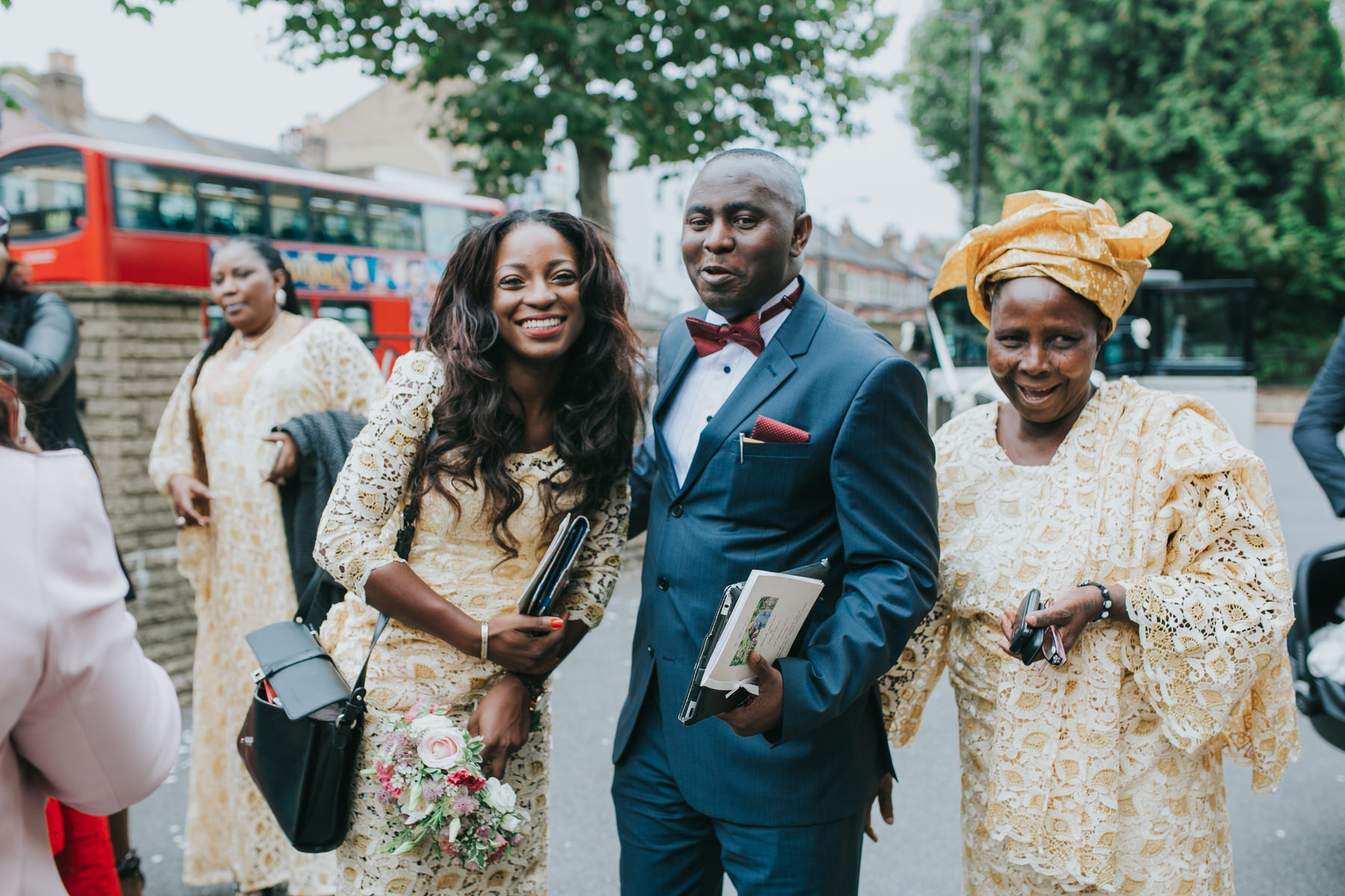 120 guests outside St Thomas More Church Dulwich wedding.jpg