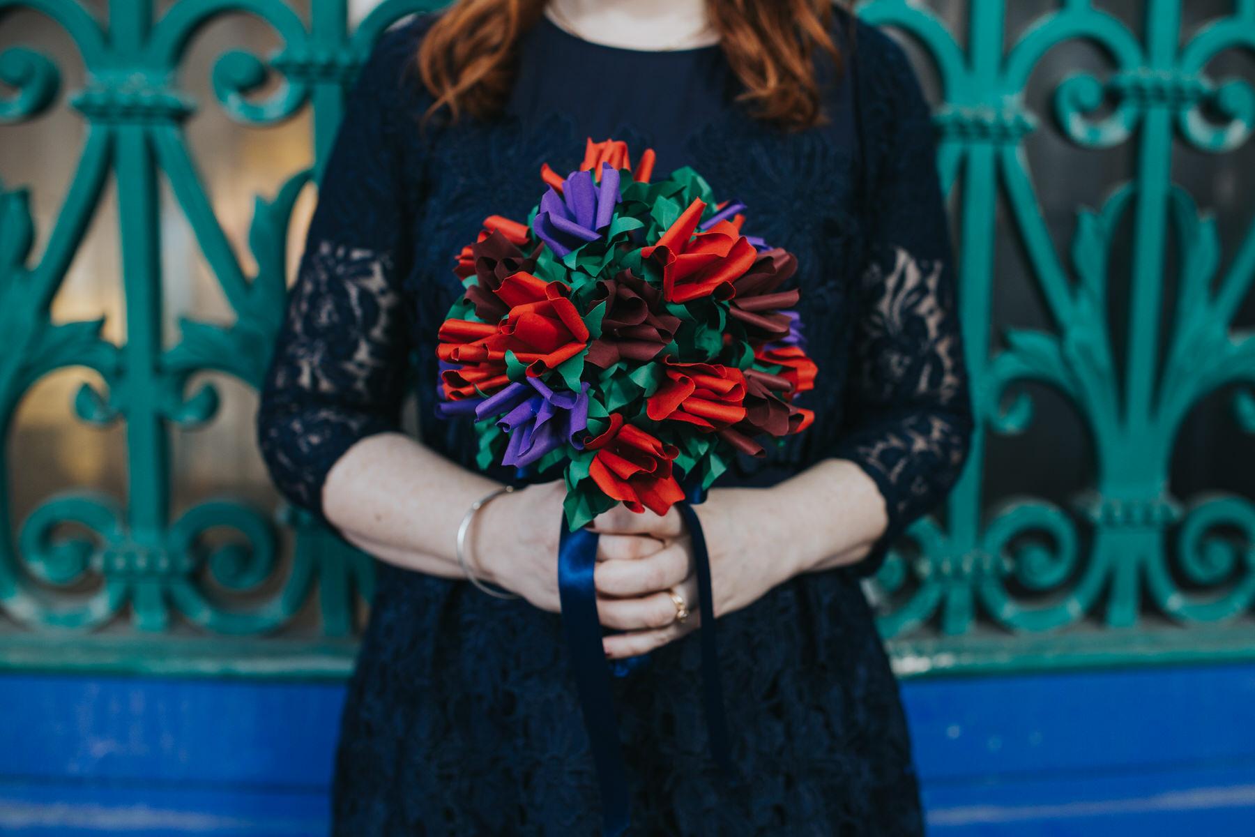 37 folded paper bouquet blue red unconventional bride.jpg
