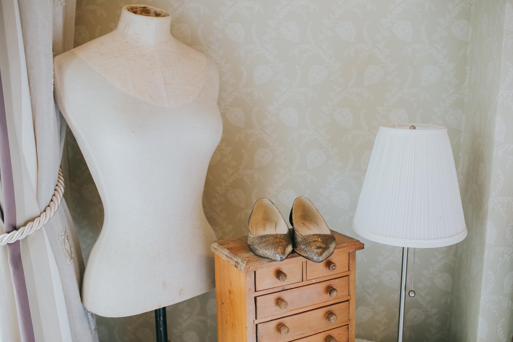 1-bride getting ready gold flat wedding shoes.jpg