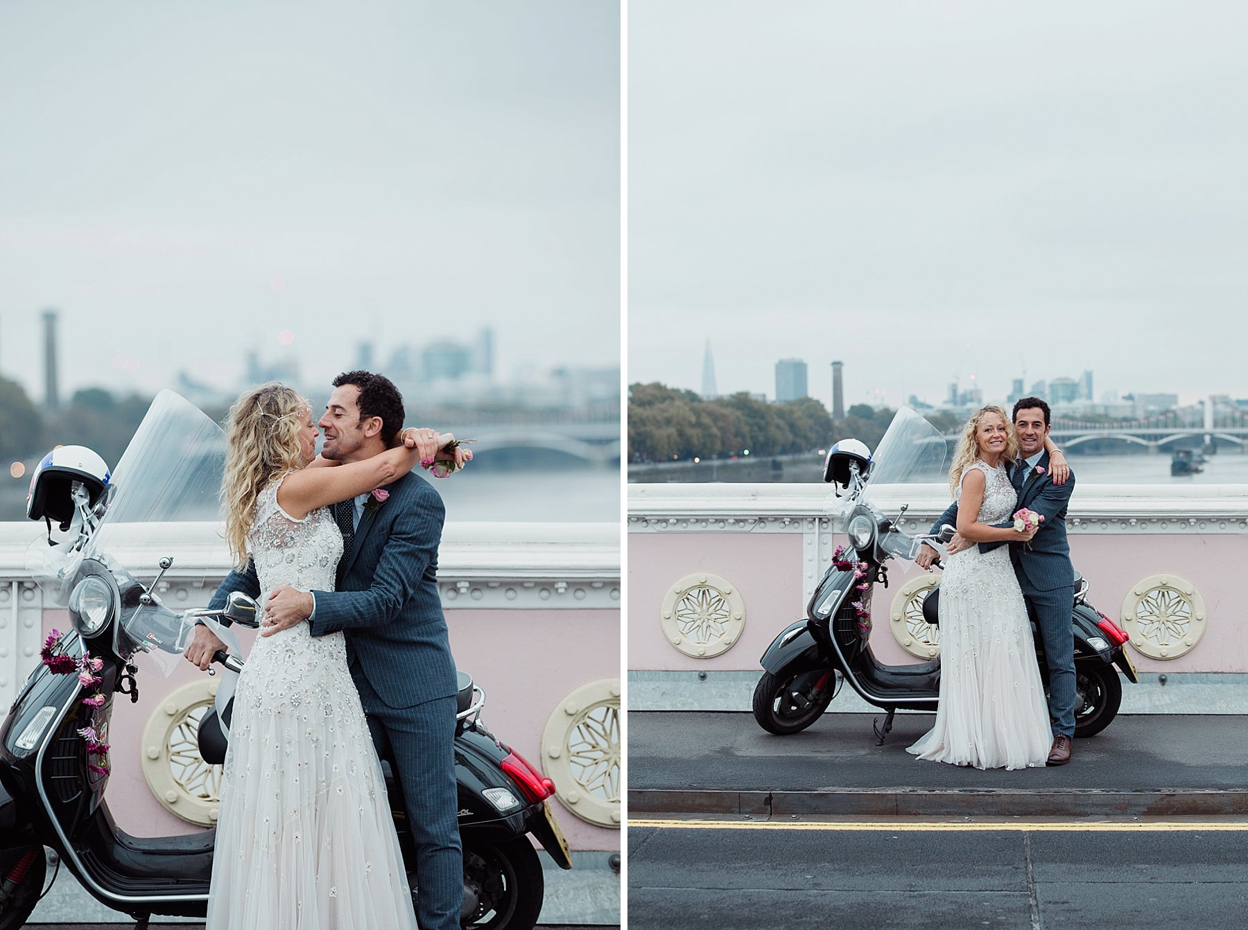 sunrise post wedding photoshoot bride groom vespa London background.jpg