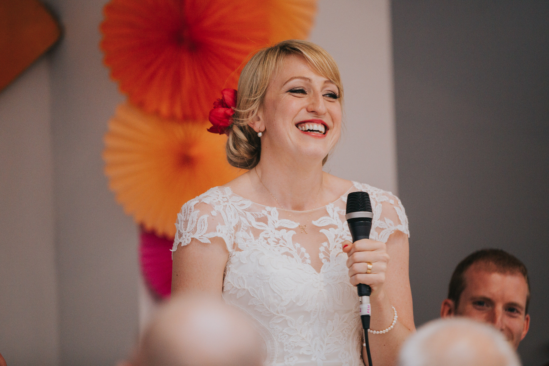 Lea Rowing Club wedding radiant bride giving speech.jpg