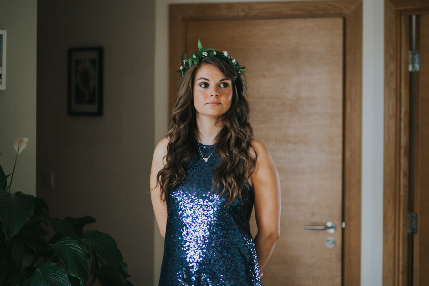 13 bridesmaid wearing navy blue sequin dress quirky fern crown head dress  woodland Wedding.jpg