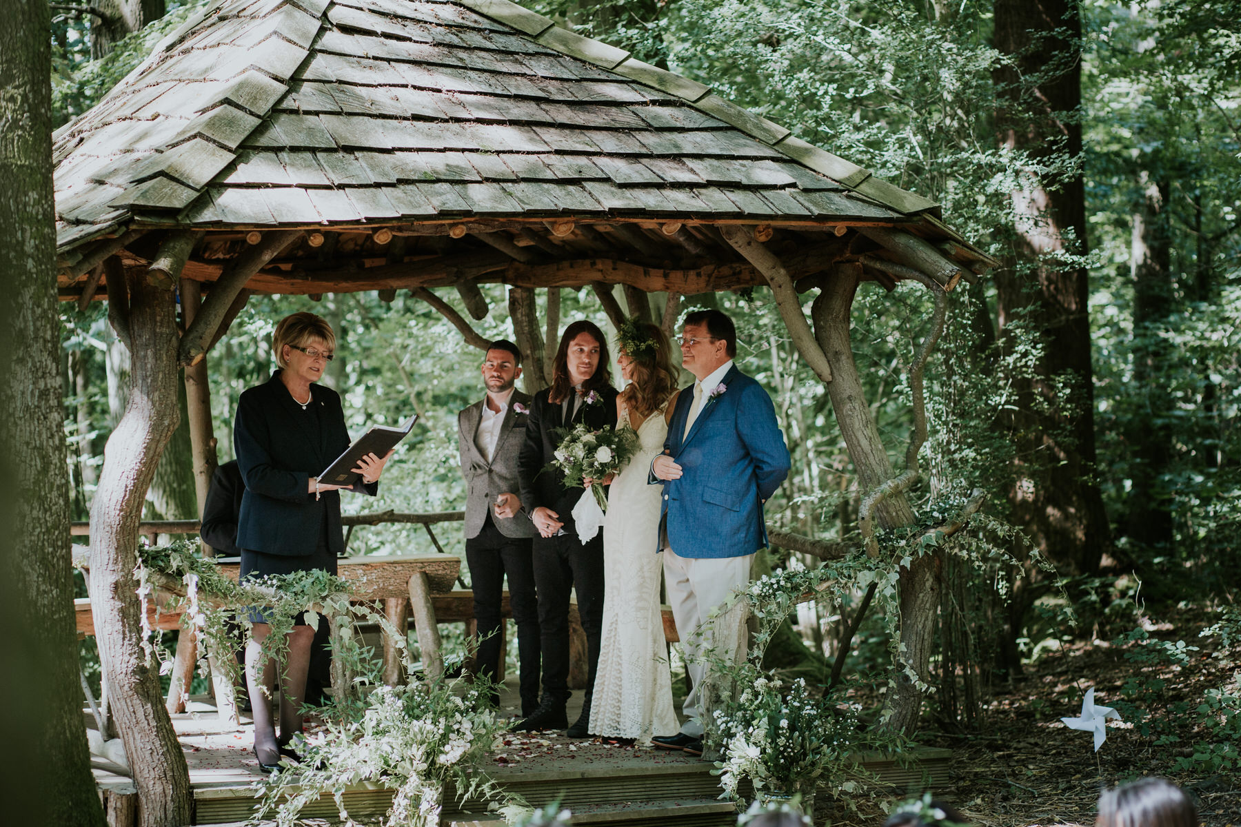 24 dad giving bride away Paper Mill Woodland wedding ceremony East Sussex.jpg