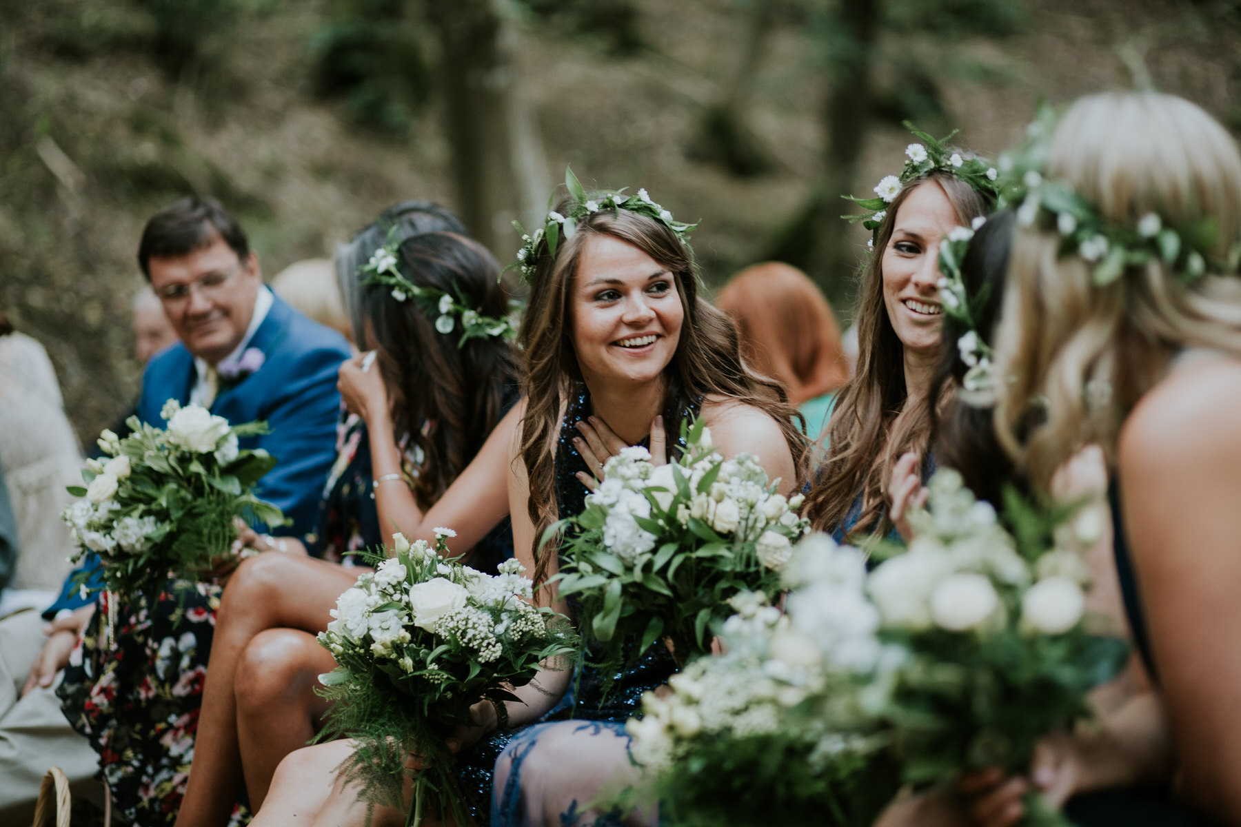 36 bridesmaids flower crowns Kent woodland wedding Sussex.jpg