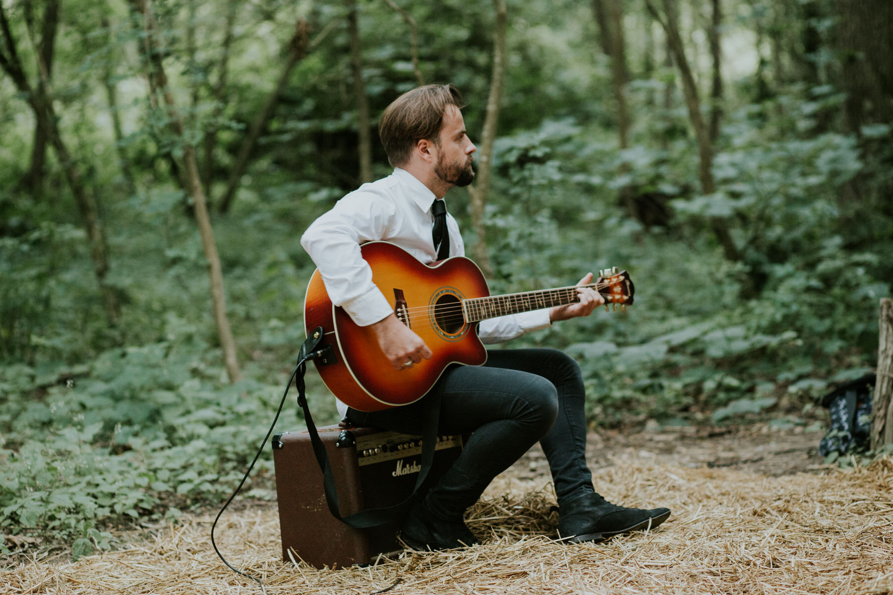 40 acoustic guitar player Paper Mill woodland wedding Kent.jpg