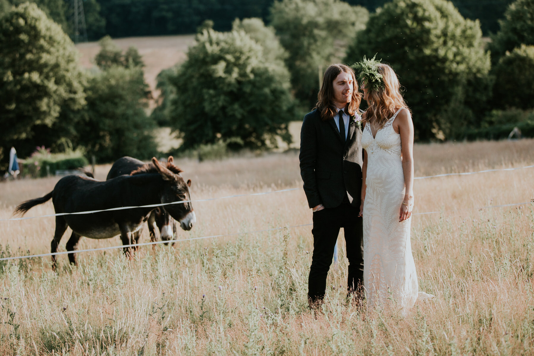 112 donkey boho bride groom golden field Kent.jpg