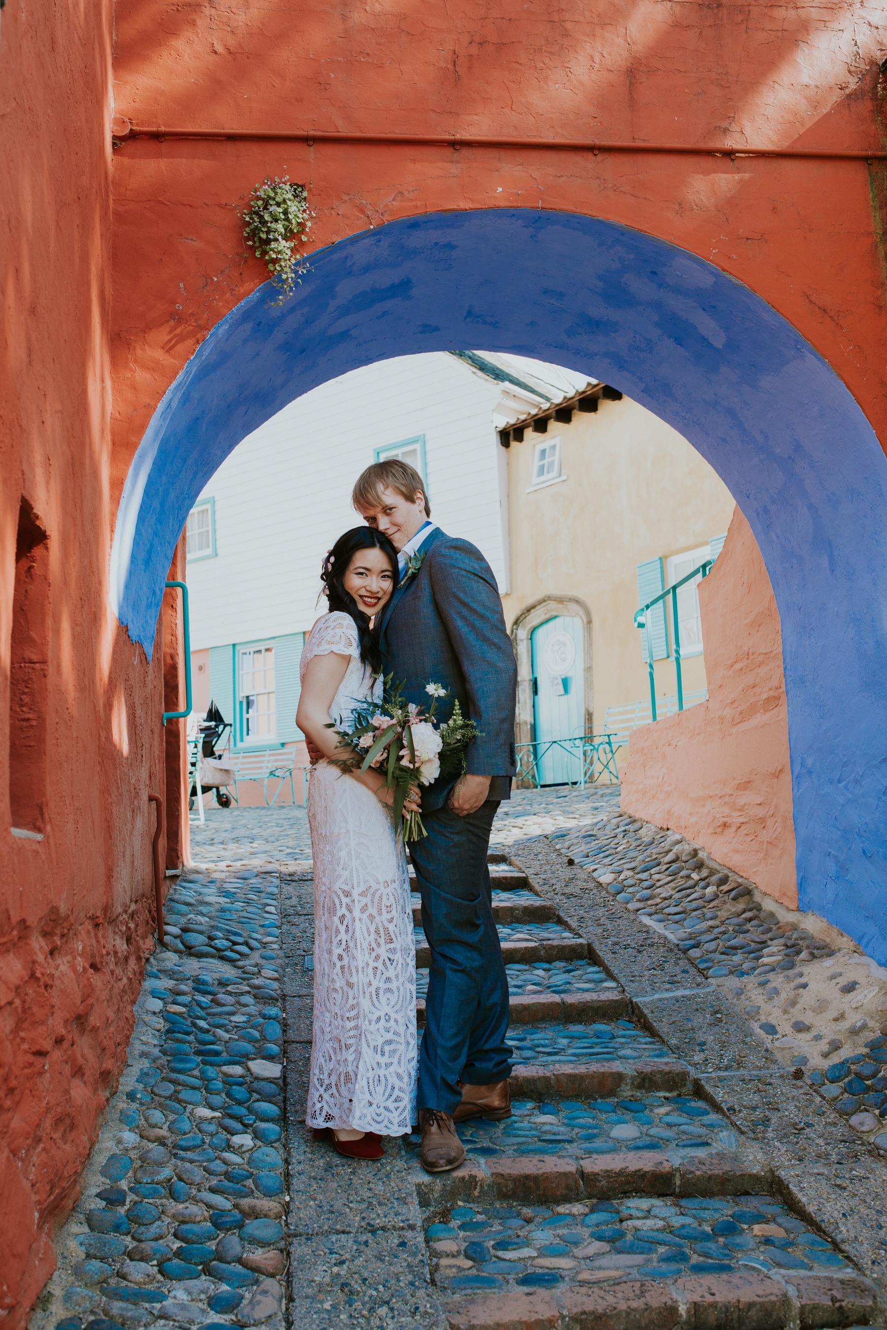 800 just married Shaina  Gwilym colourful wedding portrait Portmeirion.jpg