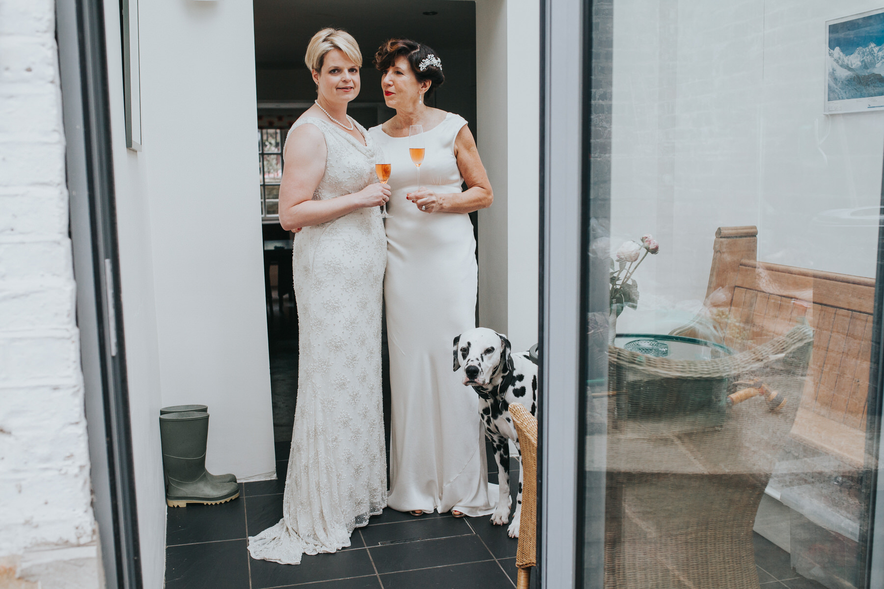 52 Islington two brides toast pink champagne dalmatian dog.jpg
