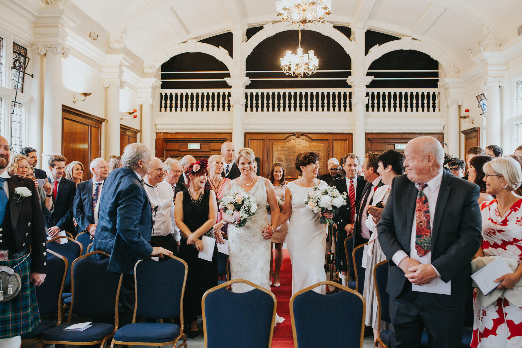 86 Finsbury Town Hall two brides enter together.jpg