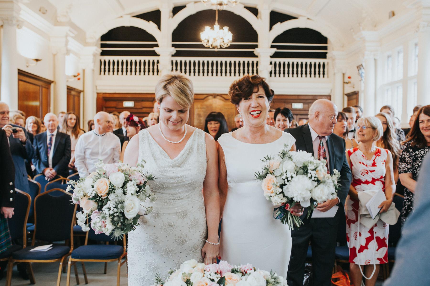 87 Finsbury Town Hall wedding ceremony two brides.jpg