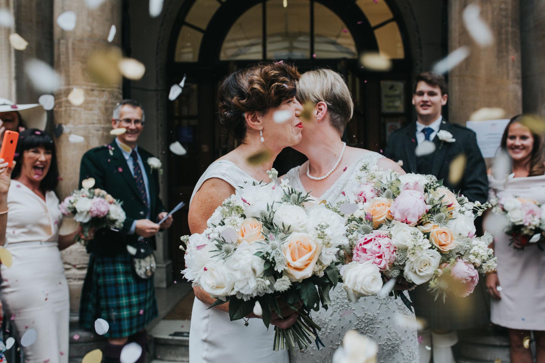 131-Finsbury Town Hall wedding two brides confetti.jpg