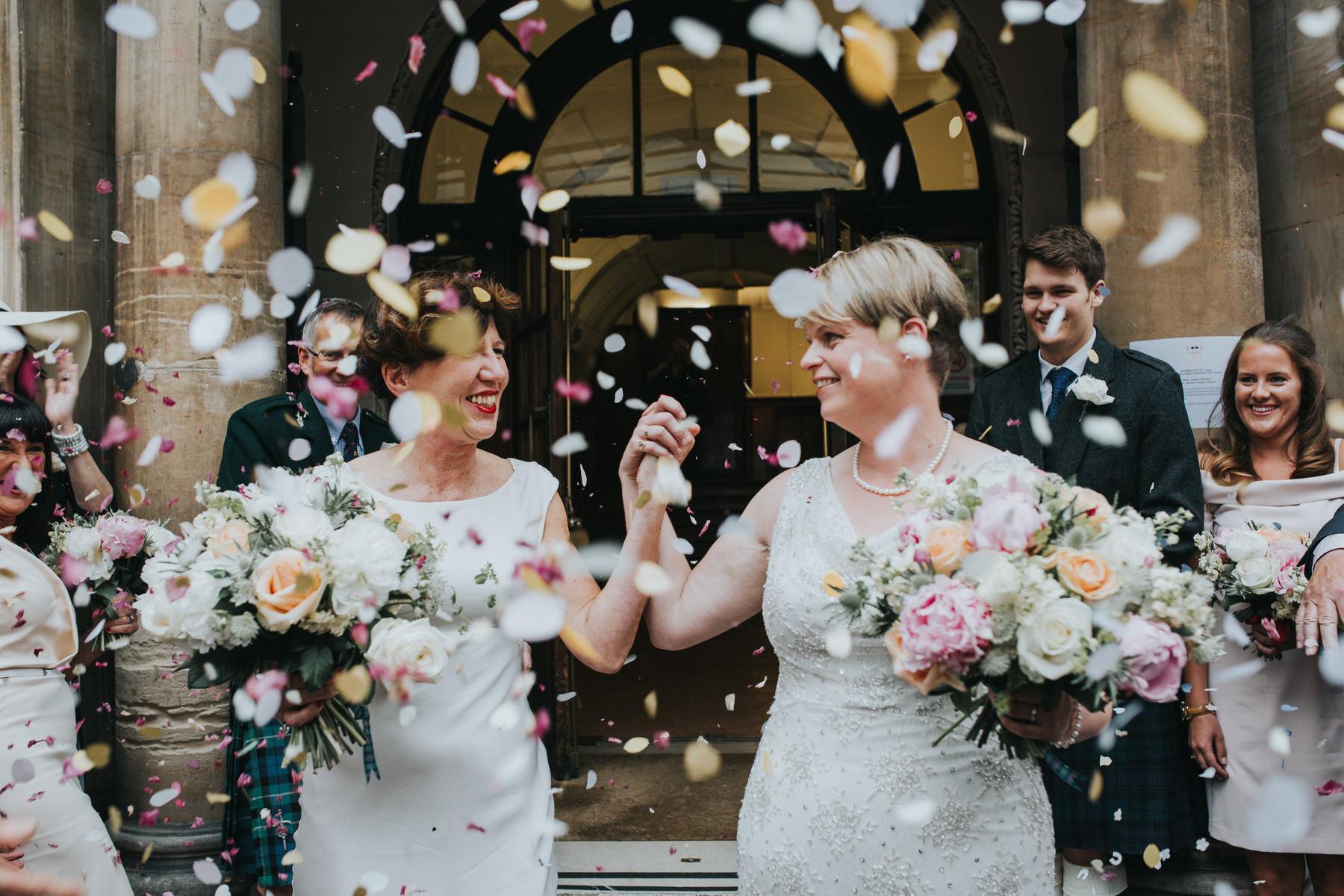 130-Finsbury Town Hall wedding two brides confetti.jpg