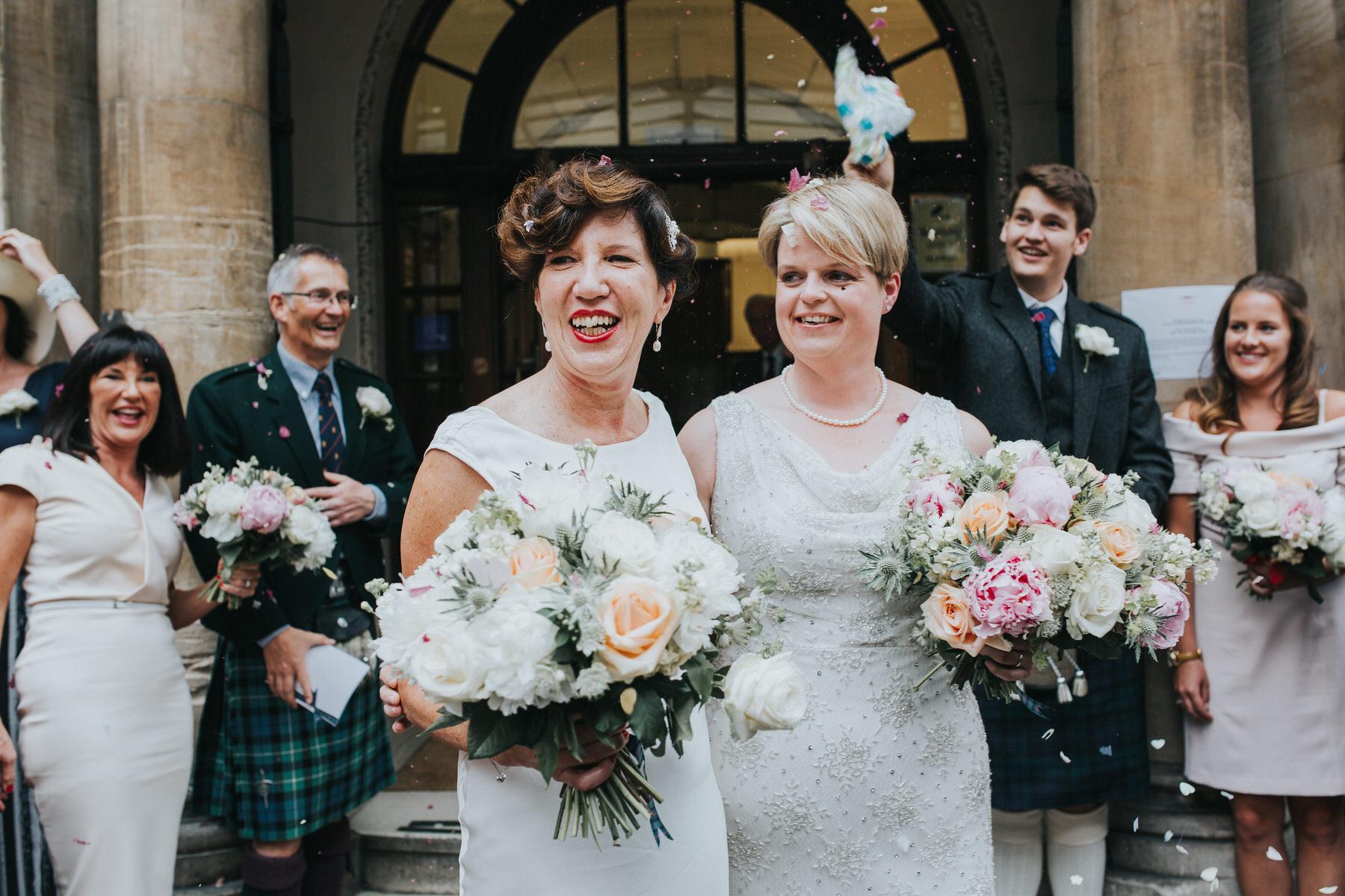 133-Finsbury Town Hall wedding two brides confetti.jpg