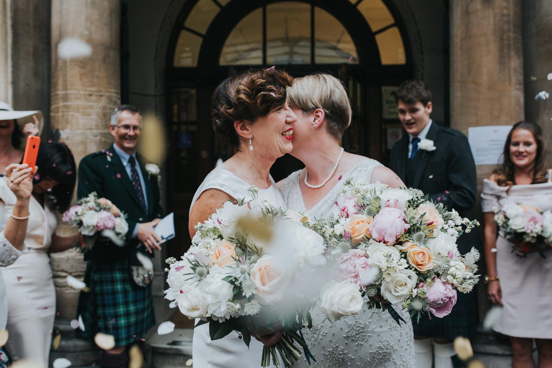 132-Finsbury Town Hall wedding two brides confetti.jpg