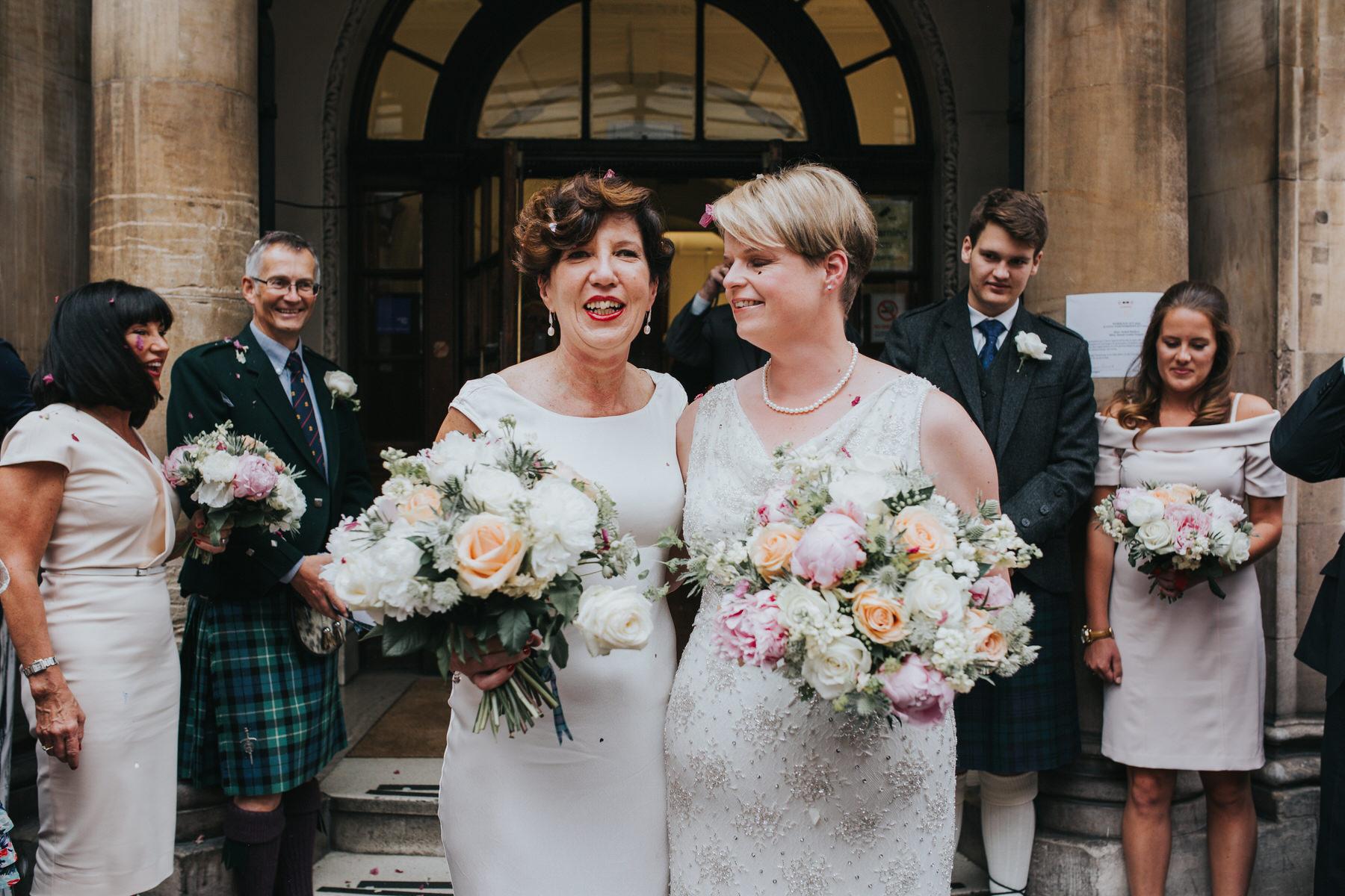 135-Finsbury Town Hall wedding two brides confetti.jpg
