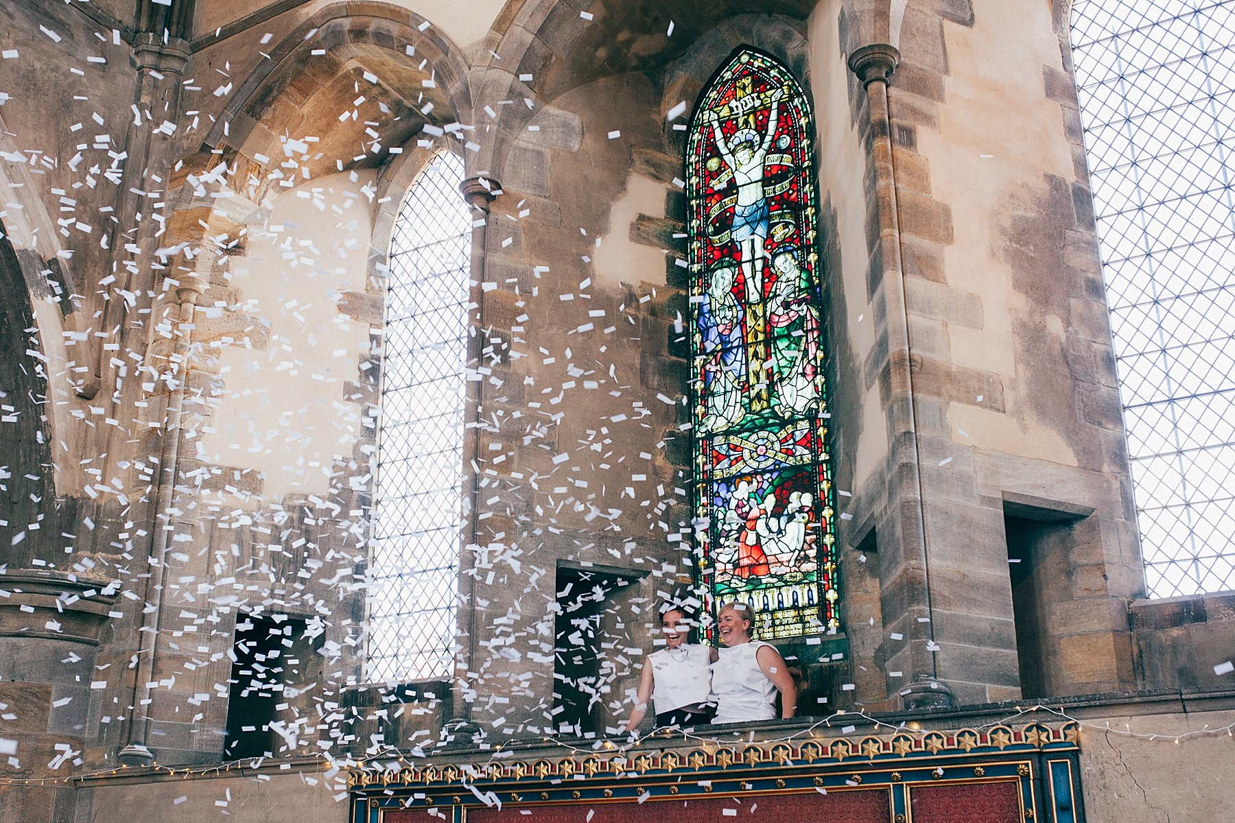 CV-381 Left Bank Leeds arts wedding venue couple enter confetti cannon.jpg