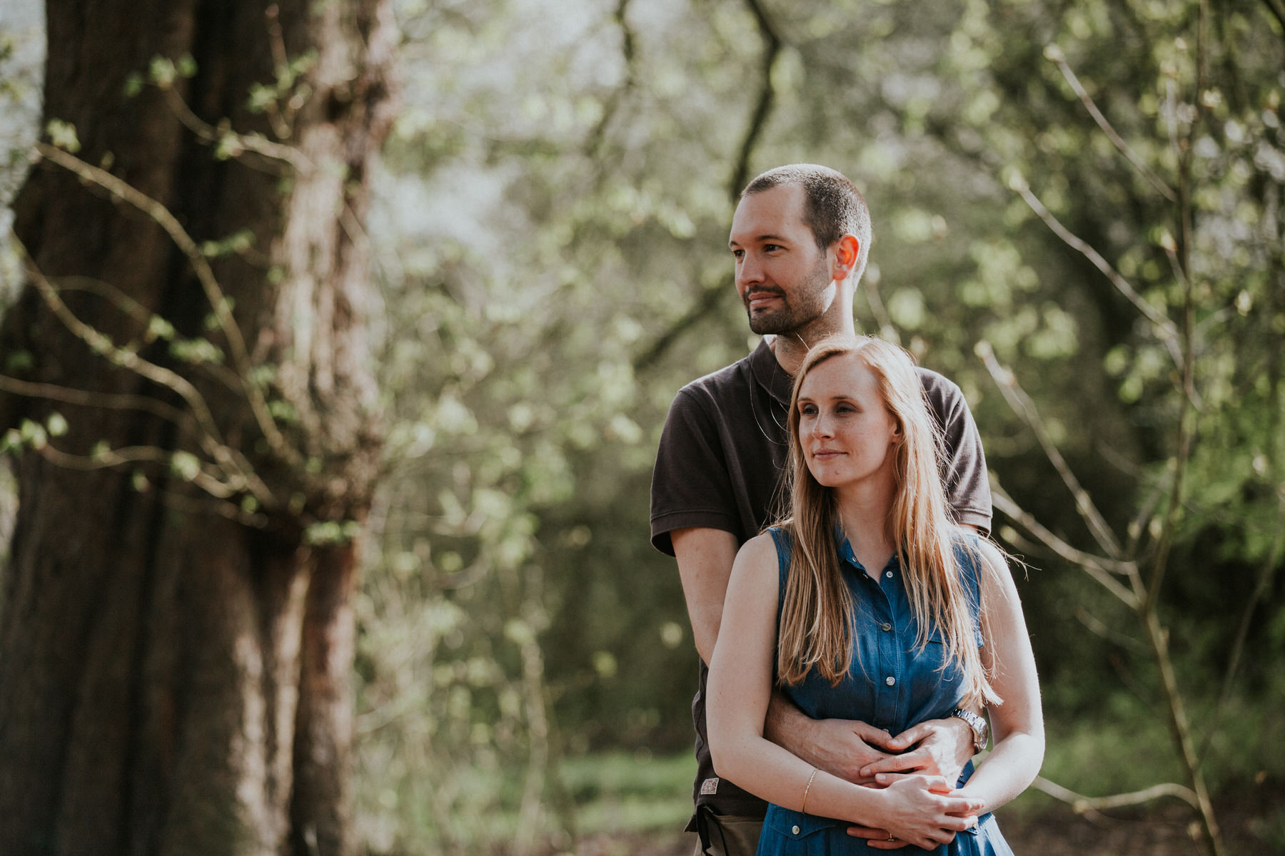 9-moody romantic couple during forest engagement London.jpg