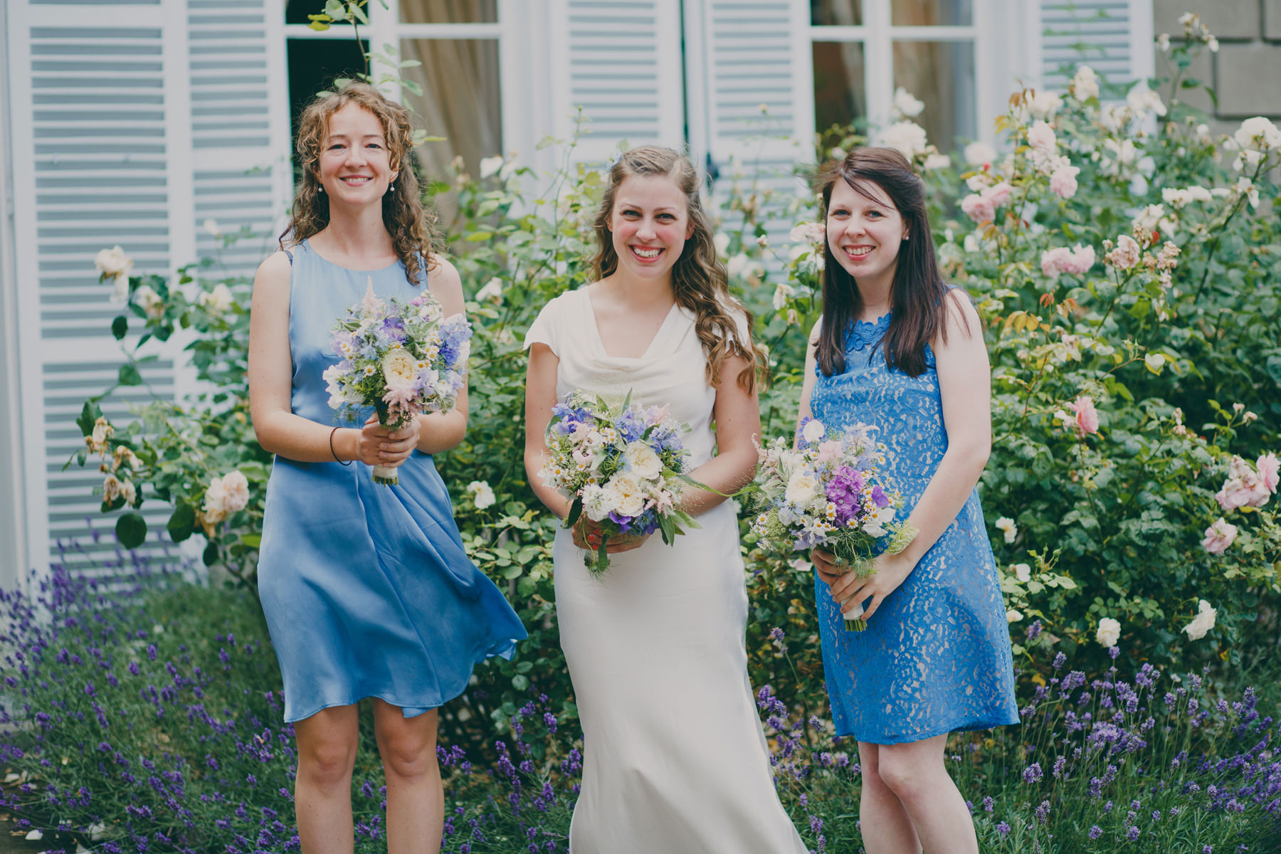 5 bride with bridesmaids cornflower blue dresses outside York House .jpg