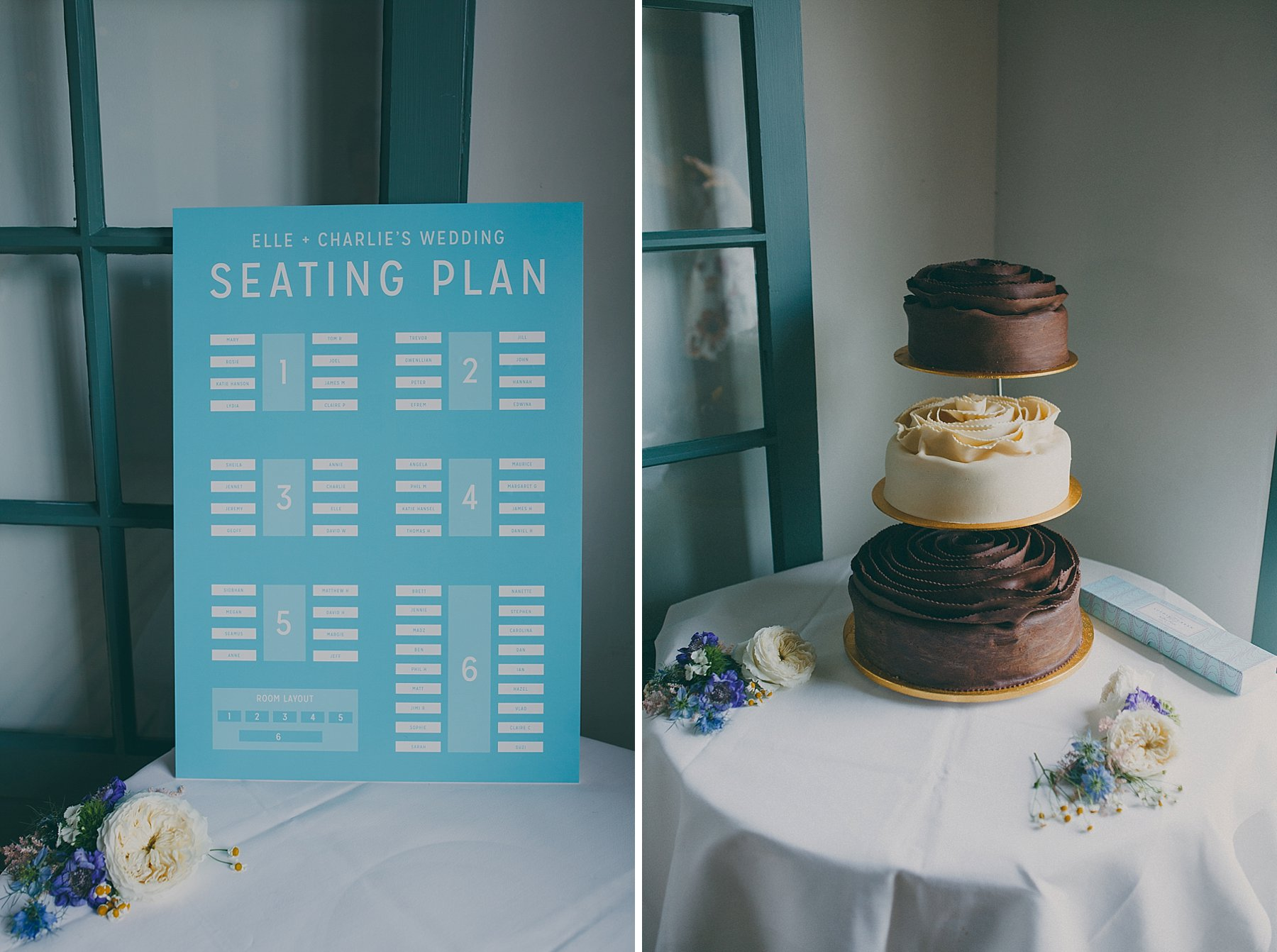 47 The wharf Teddington wedding table plan vanilla chocolate cake.jpg