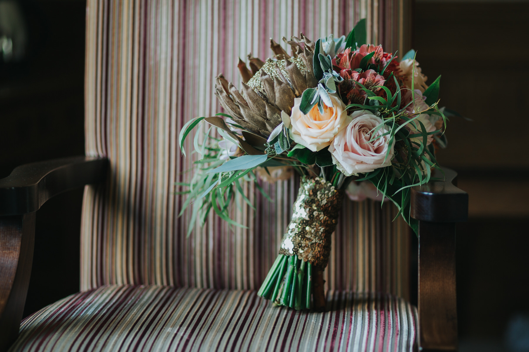 65 Boutique Blooms wedding bouquet gold protea gold sequins blush roses.jpg