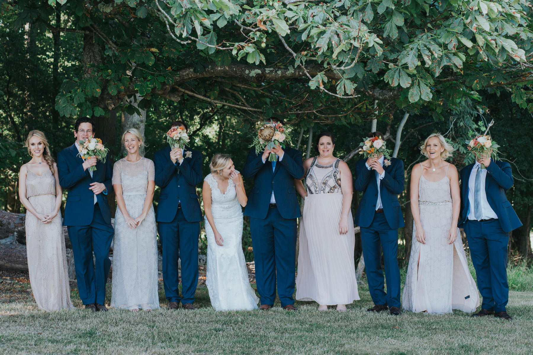 198 bridal party portrait Knepp Castle bridesmaid in blush mismatched Needle and Threads dresses.jpg