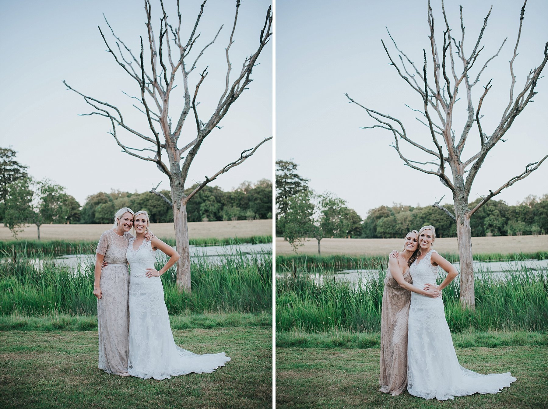 337 golden hour bride bridesmaid portraits Knepp Castle pond.jpg