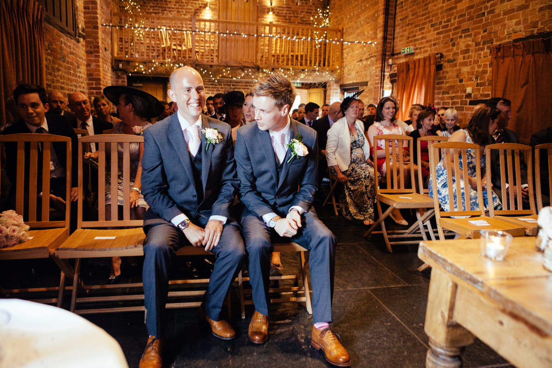 Curradine Barns Wedding photographer groom waiting with bestman.jpg