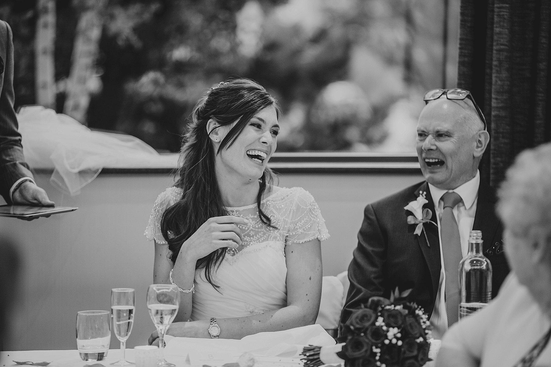 Brooklands Hotel wedding speeches bride laughing.jpg