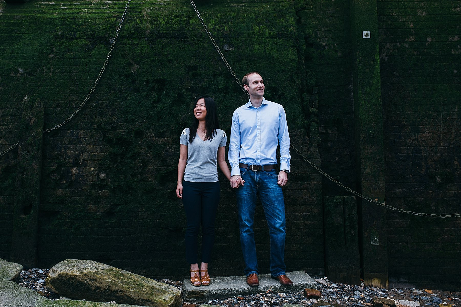 engaged London couple portrait Thames beach.jpg