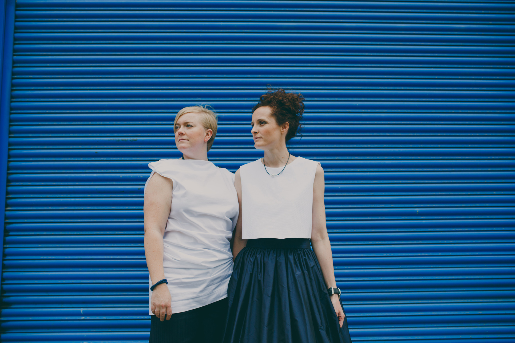 Two brides blue metal gay friendly photographer London.jpg