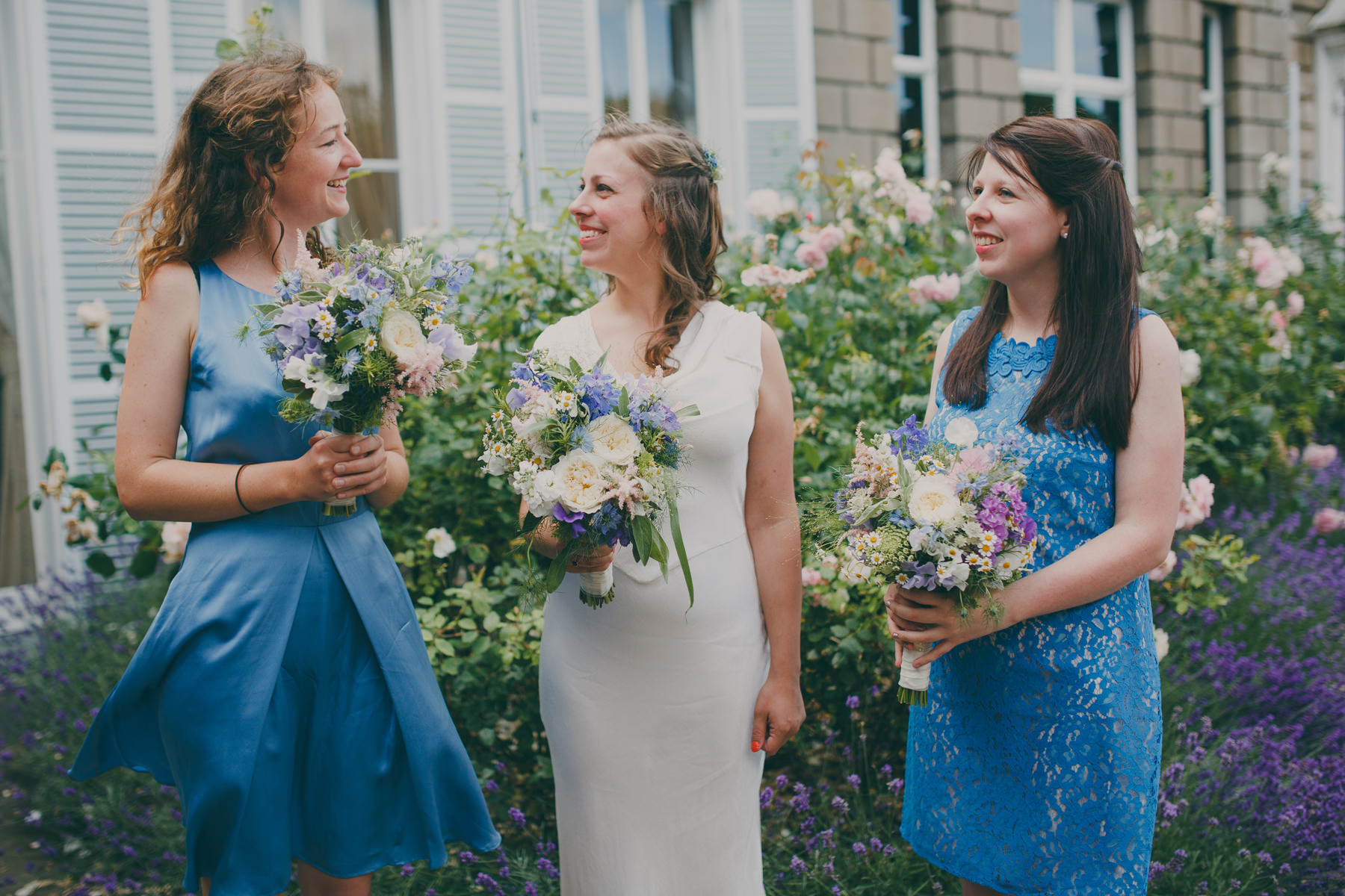 Bride waiting bridesmaid blue dresses.jpg