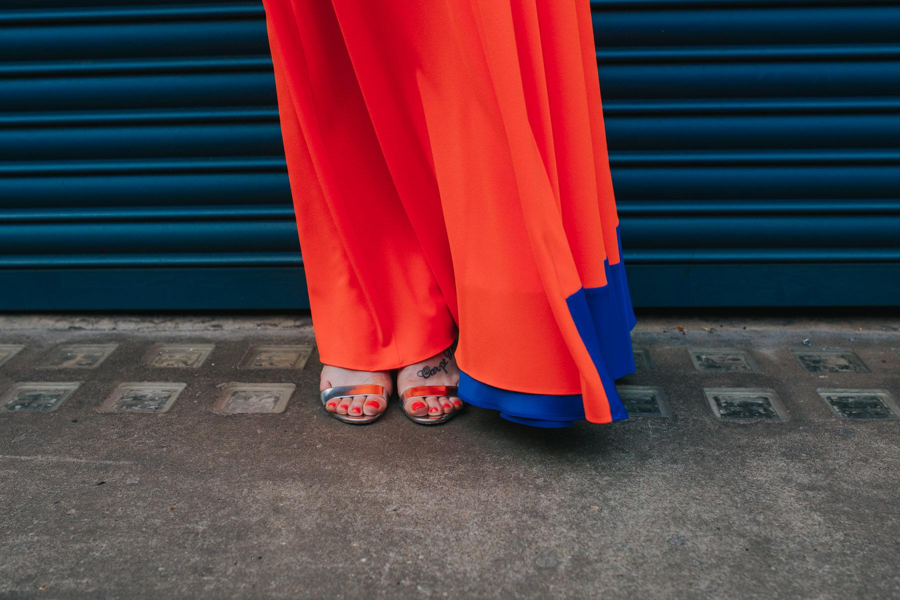 Islington wedding neon orange wedding dress.jpg