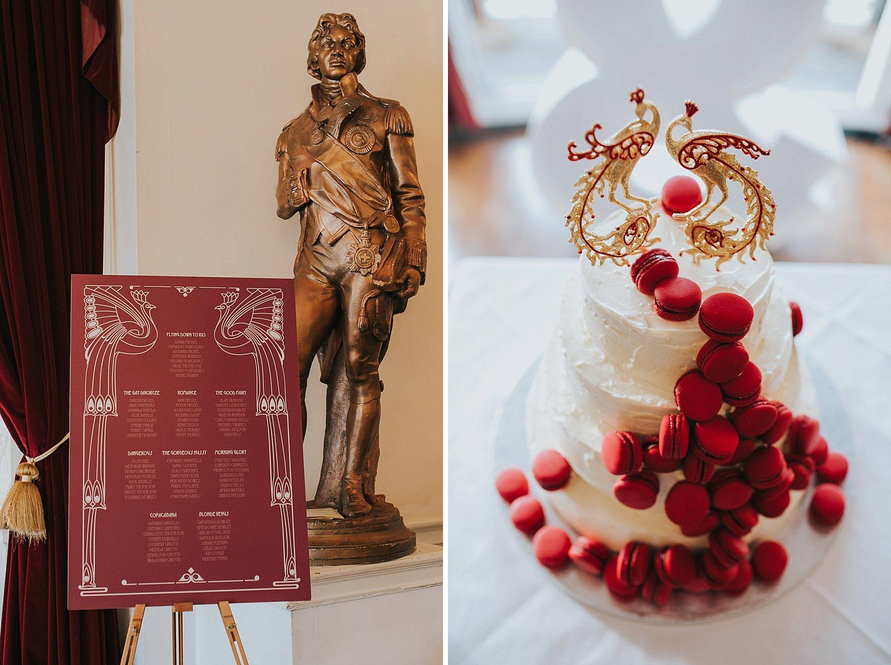 art deco table plan wedding cake Trafalgar Tavern red macarons.jpg