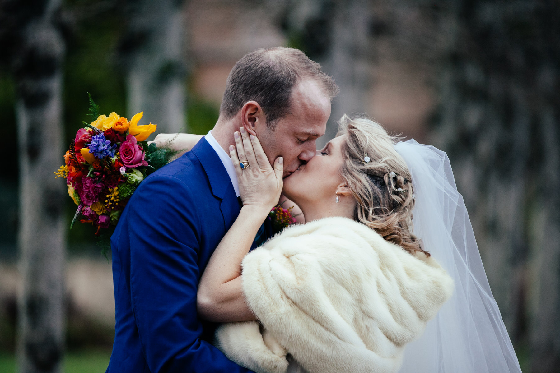 romantic natural wedding portrait bride groom kiss.jpg
