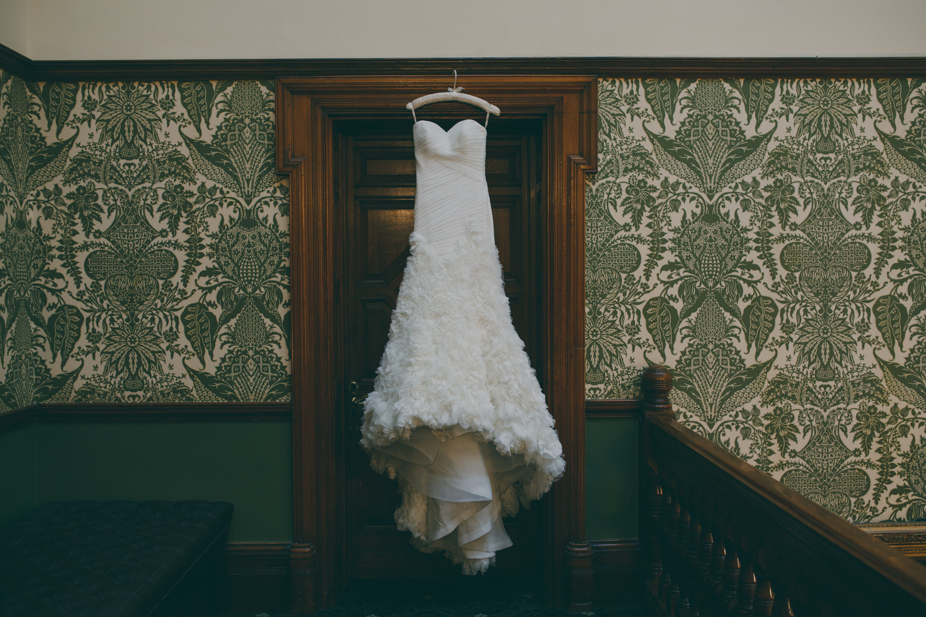 11 Enzoani wedding dress Woodlands Hotel green wallpaper Surrey.jpg