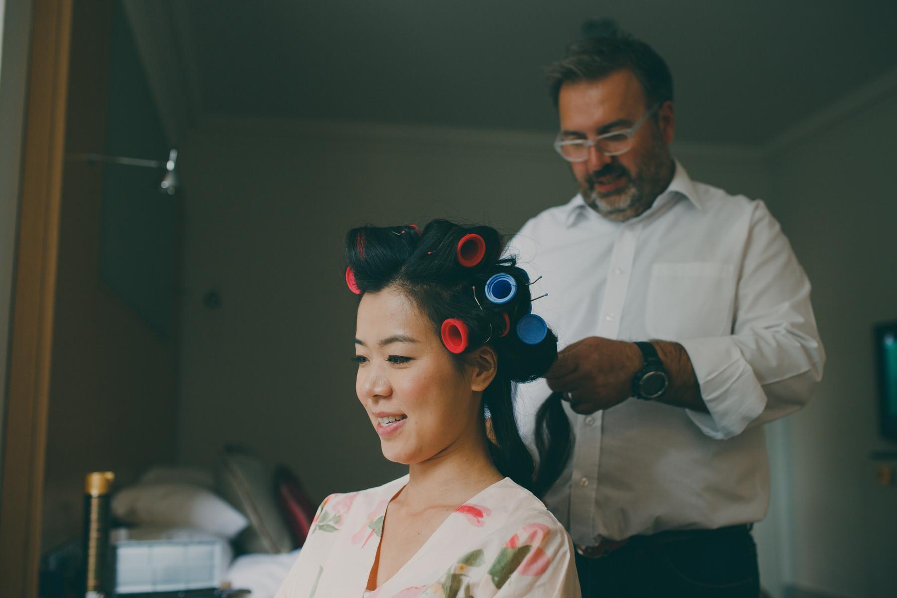 20 Woodlands Hotel Severin Hubert doing brides hair.jpg