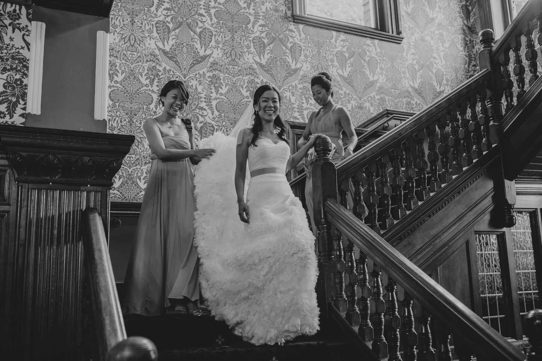 126 bride descends Woodlands Hotel documentary photographer.jpg