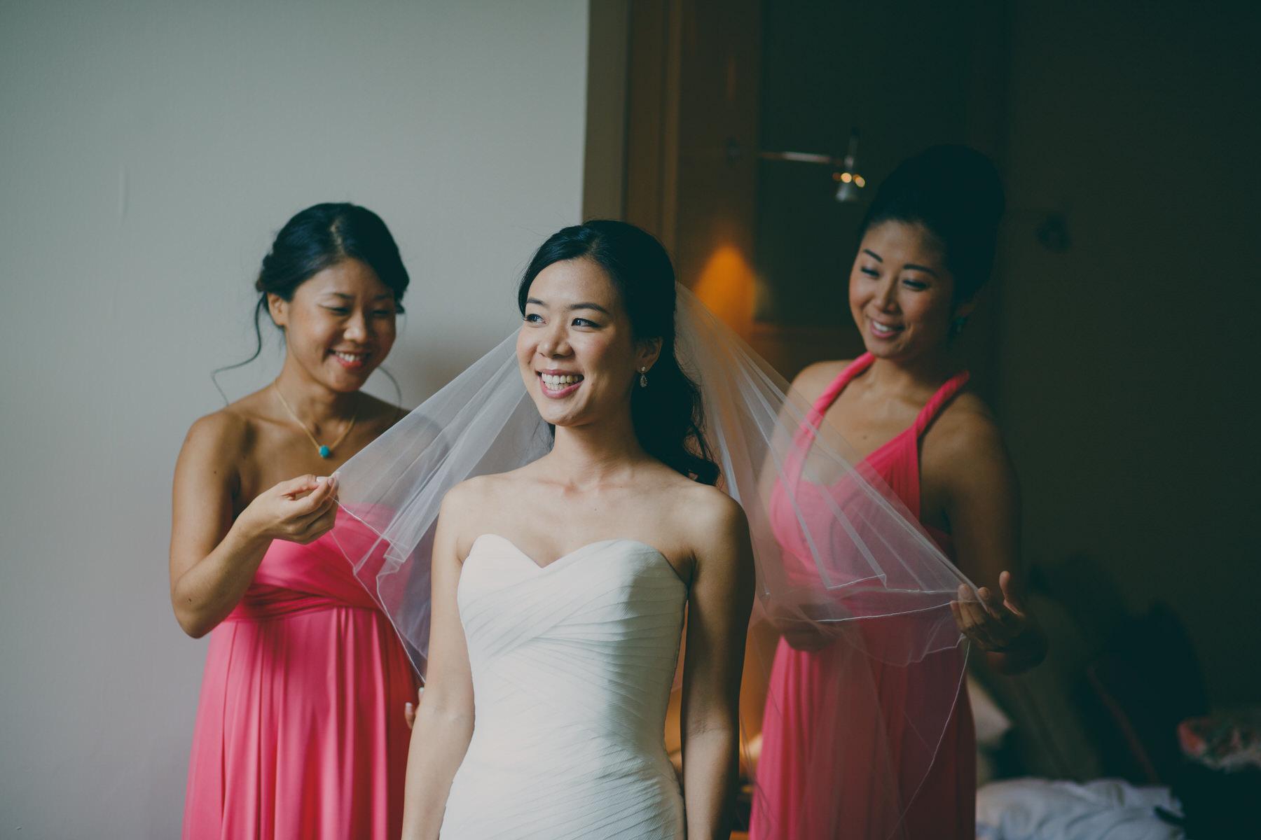 81 bridesmaids hot pink dresses fix brides veil Enzoani dress.jpg
