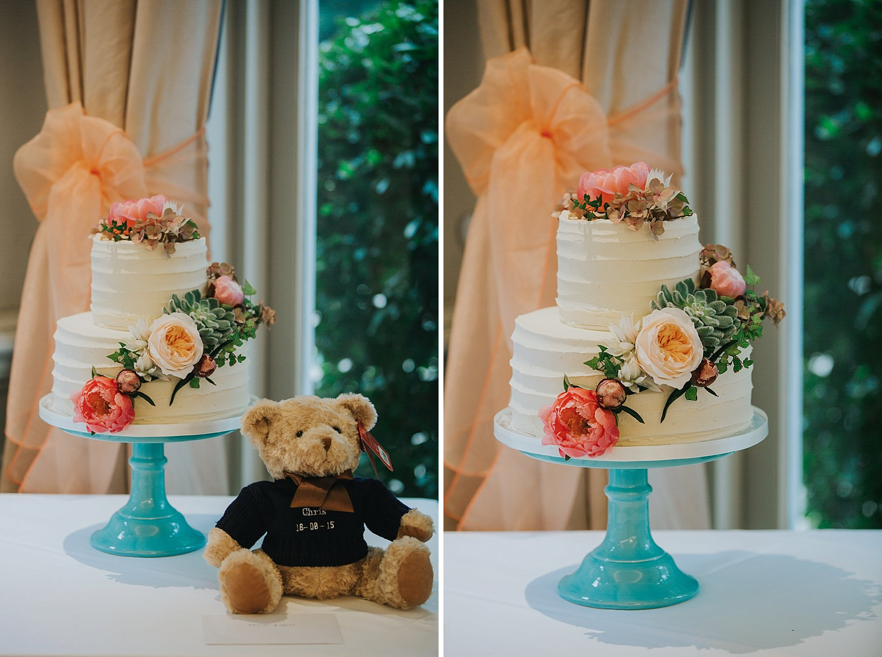 382 succulent peonie wedding cake with teddy bear Woodlands Hotel Surrey.jpg