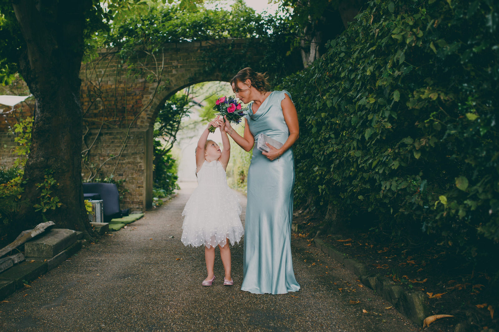 bridesmaid flowergirl mint Ghost dress London wedding photographer.jpg