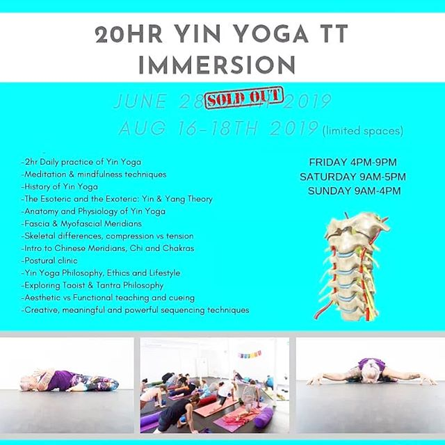 20hr Yin Yoga Immersion  AUG 16-18 at Yoga Alma for teachers, students and lovers of Yin.  Apply online at www.yogaalma.com