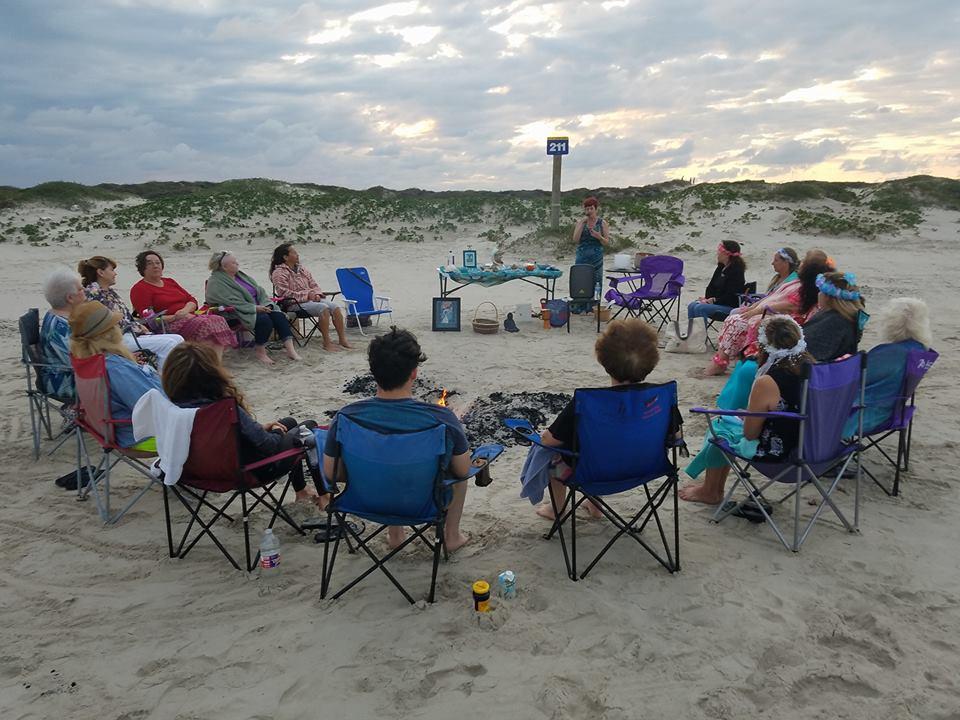 Ceremonial Circle honoring the Wesak Full Moon at Whitecap Beach on North Padre Island, Texas