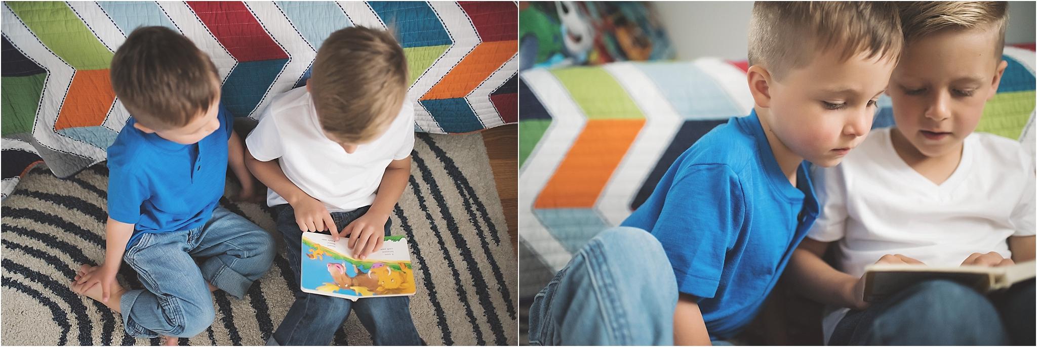 karra lynn photography - family lifestyle photographer michigan - brothers reading