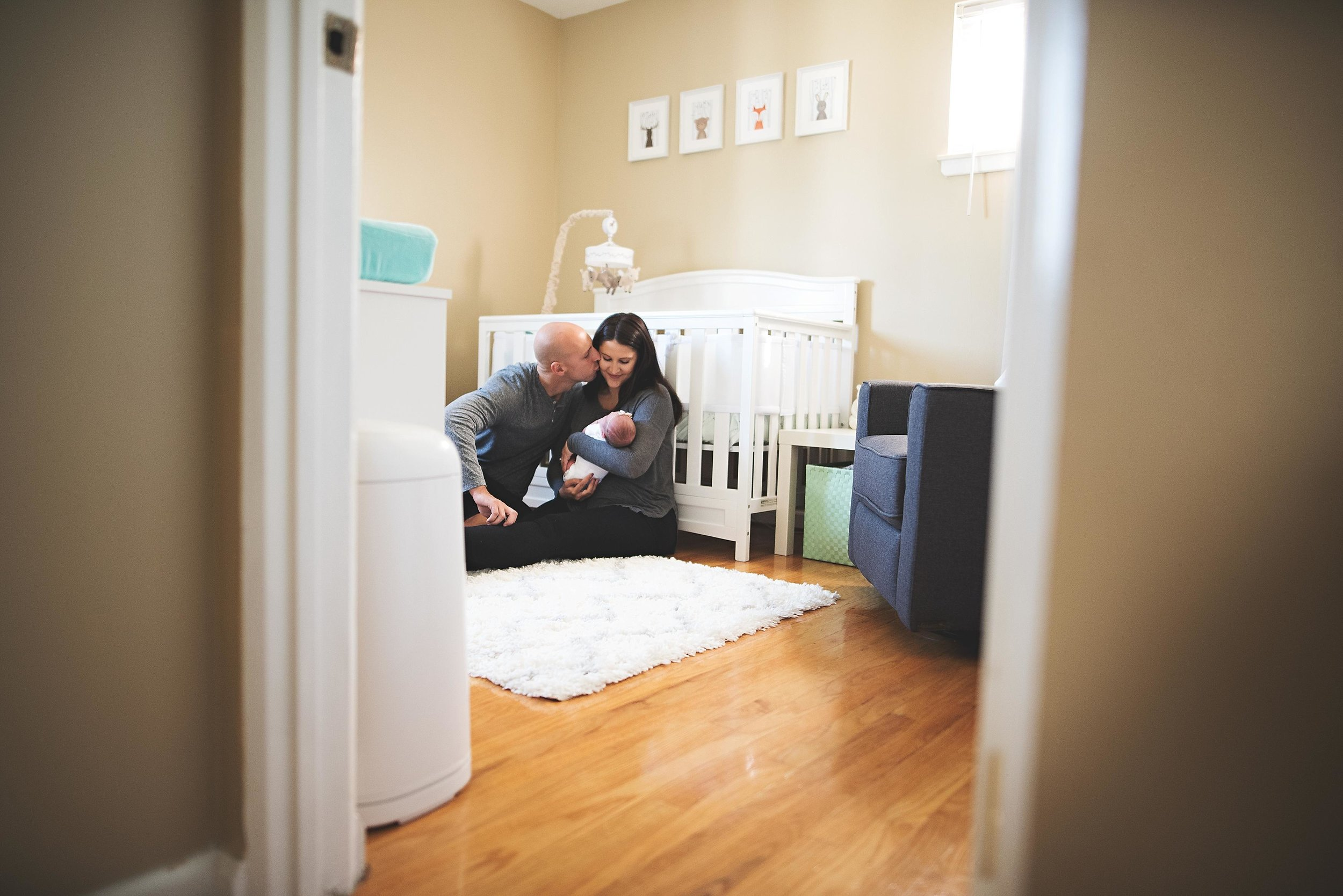 karra lynn photography - at home newborn lifestyle - michigan - outside looking in nursery