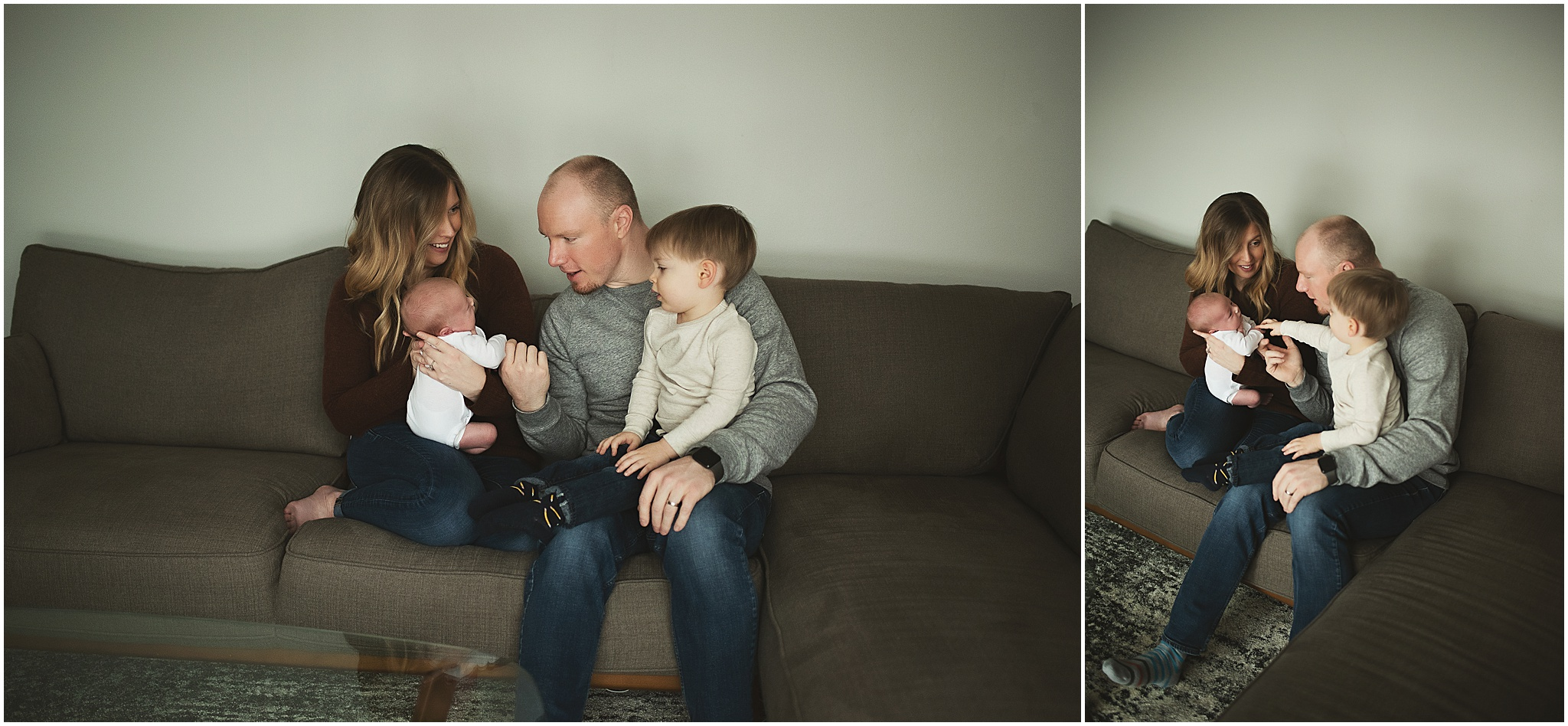 karra lynn photography - newborn photographer northville mi - family on couch