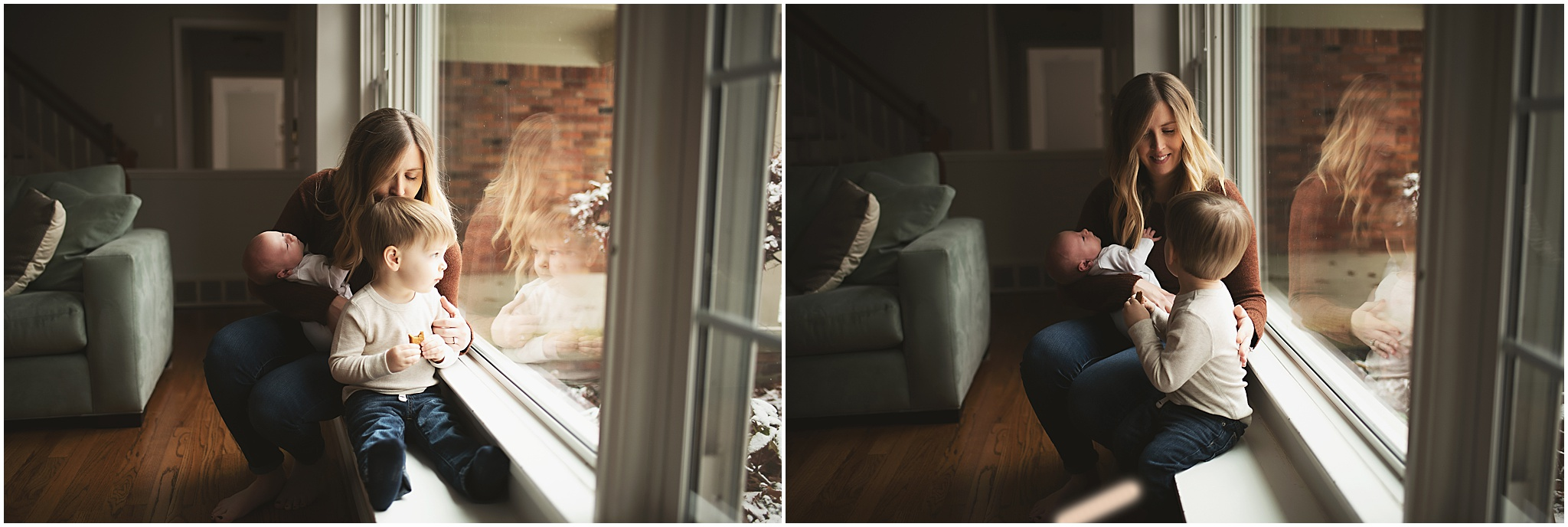 karra lynn photography - newborn photographer northville mi - mom by window
